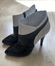 * Maison margiela * tacón alto 37 blanco negro diseño de cuero, zapatos de lujo de verano