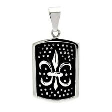 Stainless Steel Dotted Fleur de Lis Dog Tag Pendant, Free Bead Ball Chain