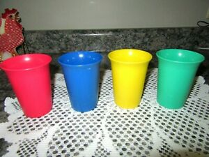 TUPPERWARE set of 4 childs tumblers bell shape glasses #109 blue,yellow,red,gree