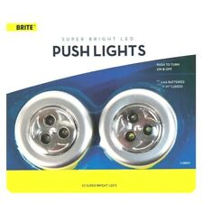 2 x LED Push Lights Super Bright Cupboard Self Adhesive Push On & Off Compact