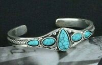 WOMENS LADYS SOUTHWEST HANDMADE JEWELRY STERLING SILVER TURQUOISE CUFF BRACELET