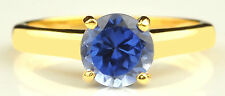 Real 14KT Yellow Gold 1.40CT Round Shape Natural Blue Tanzanite Engagement Ring