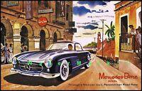 Mercedes Benz 300SL Panamericana Road Races Vintage Poster Print German Car Ad