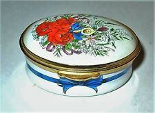 Staffordshire English Enamel Box - Flower Bouquet - Red Roses - Anniversary