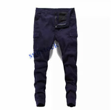 Mens Cargo Baggy Overalls Slim Trousers Relaxed Skinny Working Pencil Pants New
