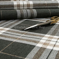 Quality Hard Wearing Plaid Tartan Stripe Chenille Upholstery Fabric in Black