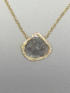 Sliced Diamond Necklace (Slice .59cts.) w/ Diamonds (.09cts.) in 18k Yellow Gold