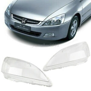 1 Pair L + R Headlight Lens Lampshade Replacement For Honda Accord 2003-2007