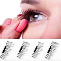 4pcs/1 Pair Hot Magnetic Eye Lashes 3D Reusable False Magnet Eyelashes Extension
