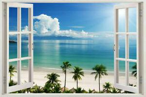 3D Window Decal WALL STICKER Home Decor Exotic Beach View Art Wallpaper Mural XL