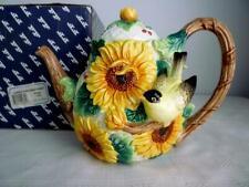 Fitz & Floyd 1992 Garden Sunflower Teapot 67/302 - Goldfinch (Yellow) Bird & Box