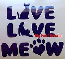 Pet Car Decal LIVE LOVE MEOW Rescue Cat Kitty Shelter Love Truck Window Sticker