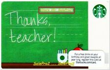 STARBUCKS COFFEE 2012 USA THANKS TEACHER US #6077 COLLECTIBLE GIFT CARD
