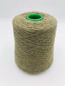 250 Gram Cone Of Camel Shade 100% Cashmere Twisted With Gold Lurex, 2 Ply. 14nm.