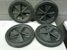 """5/8"""" Shaft Set of 4 Solid Hard Rubber 12"""" Wagon Cart Wheels Tires 1 3/8"""" Wide (d"""