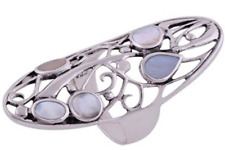 925 Sterling Silver 5.1 gm w/ Aqua Mother of Pearl Band Ring Size 6