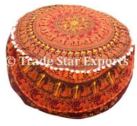 Round Ottoman Pouf Cover Cotton Footstool Case Bohemian Decorative Pouffe Cover