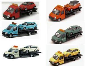Bburago Flatbed Transporter Abschleppwagen + Fiat Renault Alfa Ford Mini VW Polo