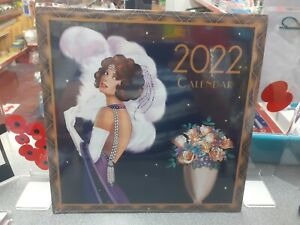 Art Deco 2022 Wall Calendar - Large Squares to write in.