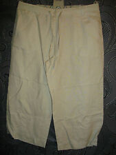 NEW * PRIMARK *  BEIGE LINEN, 3/4 CROPPED DRAWSTRING WAIST TROUSERS SIZE 12.