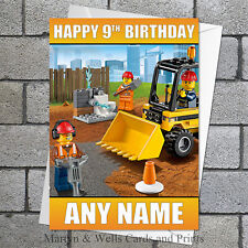 Lego City Construction birthday card. 5x7 inches. Personalised, plus envelope.