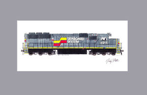 """Seaboard System SD50 #8615 11""""x17"""" Matted Print Andy Fletcher signed"""