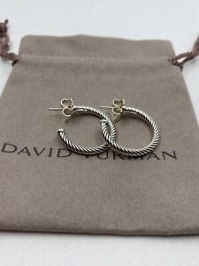 """David Yurman Sterling Silver Cable Hoop Earrings 1"""" with Pouch"""