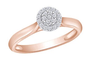 Round Cut Diamond Round Halo Cluster Ring in 14K Rose Gold Plated 925