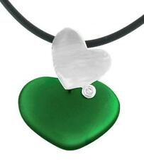 925 Sterling Silver Green Agate & CZ Large Heart Pendant from Bali Indonesia