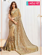 Bollywood Style Designer Embroidered Beige Sari Georgette Net Party Wear Saree