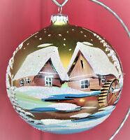 Exklusive Christbaumkugel Lauscha Glas, Goldgrün schöne Winterlandschaft 12cm
