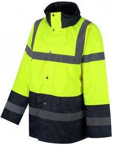 Traega TJK03 Two Tone Safety Parka Jacket Waterproof Zip Concealed Hood Class 2