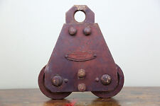 Vintage BROWN HOISTING MACHINERY Industrial 4000 lb Door Roller Pulley Cast Iron