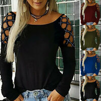 Women Crew Neck Hollow-Out Studded Long Sleeve T Shirts Casual Tops Blouse