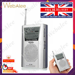 Portable AM/FM Pocket Radio World Receiver Mini Light Player Telescopic Antenna