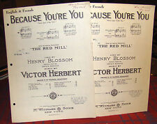 Because You're You/Parce Que C'est Toi Sheet Music 2 Copies Victor Herbert