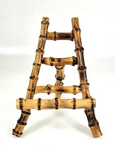 Vintage Chinoiserie Burnt Bamboo Easel Photo Plate Art Picture Stand 7.5Hx6Wx6D