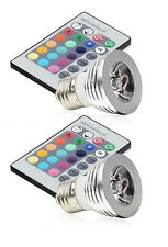 2pcs E27 Color Changing 3W RGB LED Light Bulb Lamp 100-240V +IR Remote Control