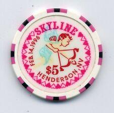 SKYLINE 1996 VALENTINES DAY  HENDERSON $5 CASINO  CHIP