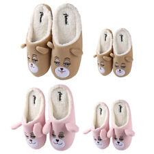 Aerusi Kids Adult Family Winter Warm House Slippers Teddy Bear Soft Fleece Shoes