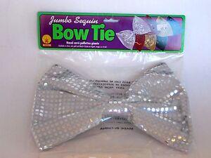 Jumbo Silver Sequin Bow Tie Costume Accessory Halloween Clown