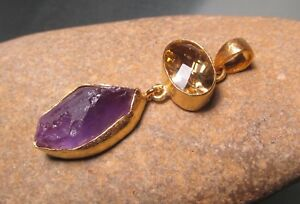 Gold plated brass cut lemon quartz & rough amethyst linked pendant. Gift Bag.