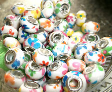10 x Summer Flower Patterned 5mm Silver Core European Charm Beads. Ideal Gift