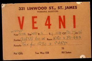 "QSL QSO RADIO CARD ""Bill Sutton,1957,VE4N1"", Winnipeg,Manitoba"", (Q4048)"