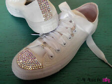 CONVERSE ALL STAR White with shoe charms SWAROVSKI crystals AB iridescent BRIDE