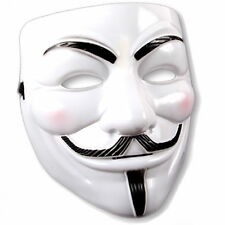 1x maschera Smartfox V Come Vendetta Anonymous Occupy Guy Fawkes Bianco Acta