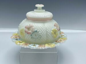 Consolidated Glass Daisy Cosmos Covered Butter Dish Floral Pink Yellow Blue
