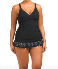 Profile by Gottex plus size black underwire swimdress one piece swimsuit 24W
