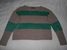 GRACE ELEMENTS Green Metalic & Beige Tan Striped Sweater L Sleeve crop Medium M
