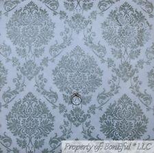 BonEful FABRIC FQ Cotton Quilt White Gray Flower Damask Silver Metallic Glitter